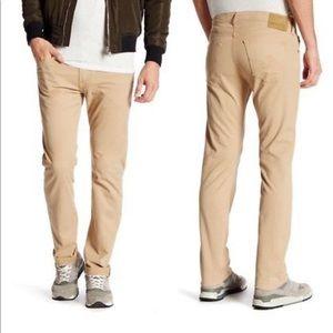 AG Jeans Matchbox Slim Straight Tan 33 Retail $178